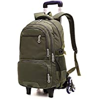 KJRJLG Solid Color Boys Waterproof Middle High School Rolling Trolley Backpack Travel Rucksack
