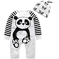 Fairy Baby 2pc Infant Baby Boy Girl Cotton Pajamas Set Panda Footie Sleep Play Romper