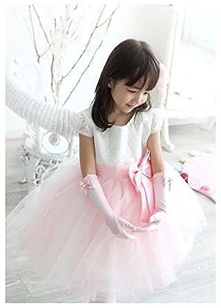 こどもドレス 女の子ドレス フラワードレス 結婚式 発表会 白 チュールスカート 4点セット 子どもドレス