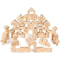 [ドリーマー] 積み木 100ピース ブロック 立体パズル 木製 おもちゃ  筒入り 早期開発 想像力 出産/お誕生日お祝い プレゼント