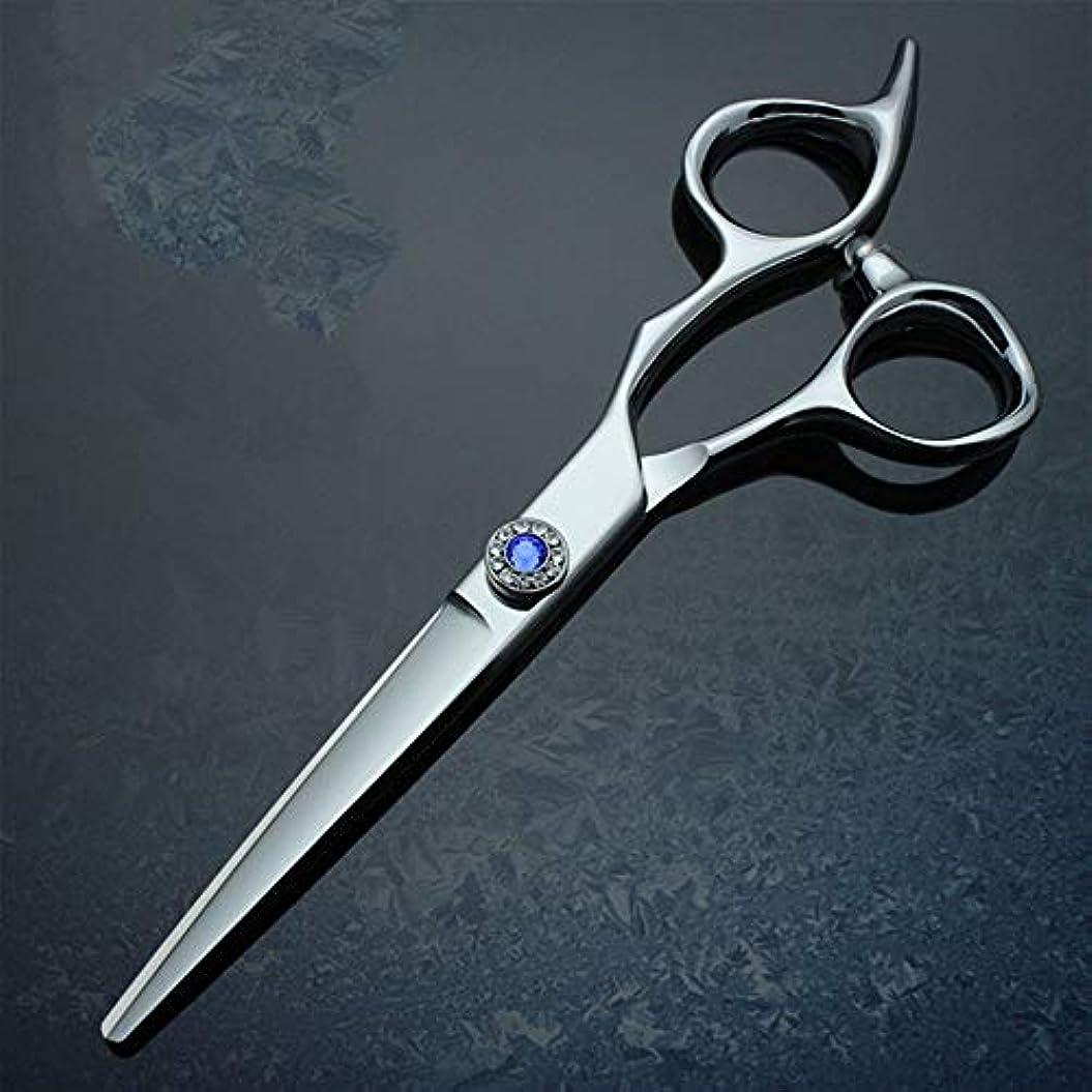 うなるピクニックピアース6インチプロフェッショナルハイグレード厚手ハンドル理髪440 Cはさみフラットせん断 モデリングツール (色 : 青)
