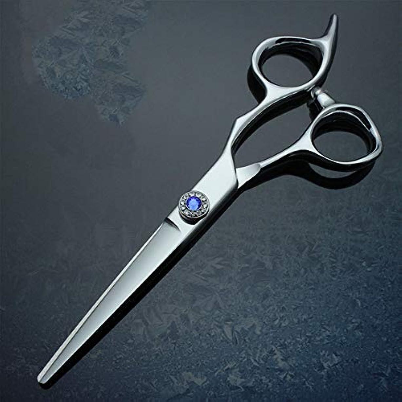 印象派気分が悪いターゲット6インチプロフェッショナルハイグレード厚手ハンドル理髪440 Cはさみフラットせん断 モデリングツール (色 : 青)