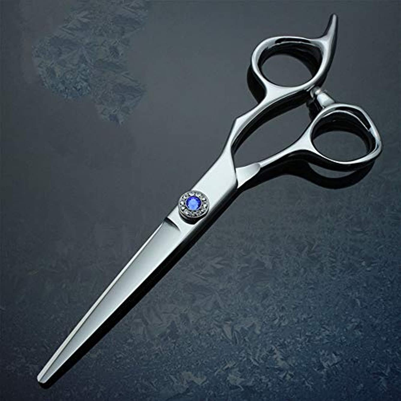 生き返らせるプレフィックス辛な6インチプロフェッショナルハイグレード厚手ハンドル理髪440 Cはさみフラットせん断 モデリングツール (色 : 青)