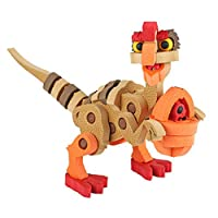 Rabugoo のゲーム 子供のための3Dビルディングブロックの漫画の恐竜様式の教育親子DIYアセンブリおもちゃ エッグドラゴンを盗む(ブラウン) - 95個