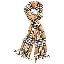 Super Soft Luxurious Classic Cashmere Feel Winter Scarf, Camel Plaid