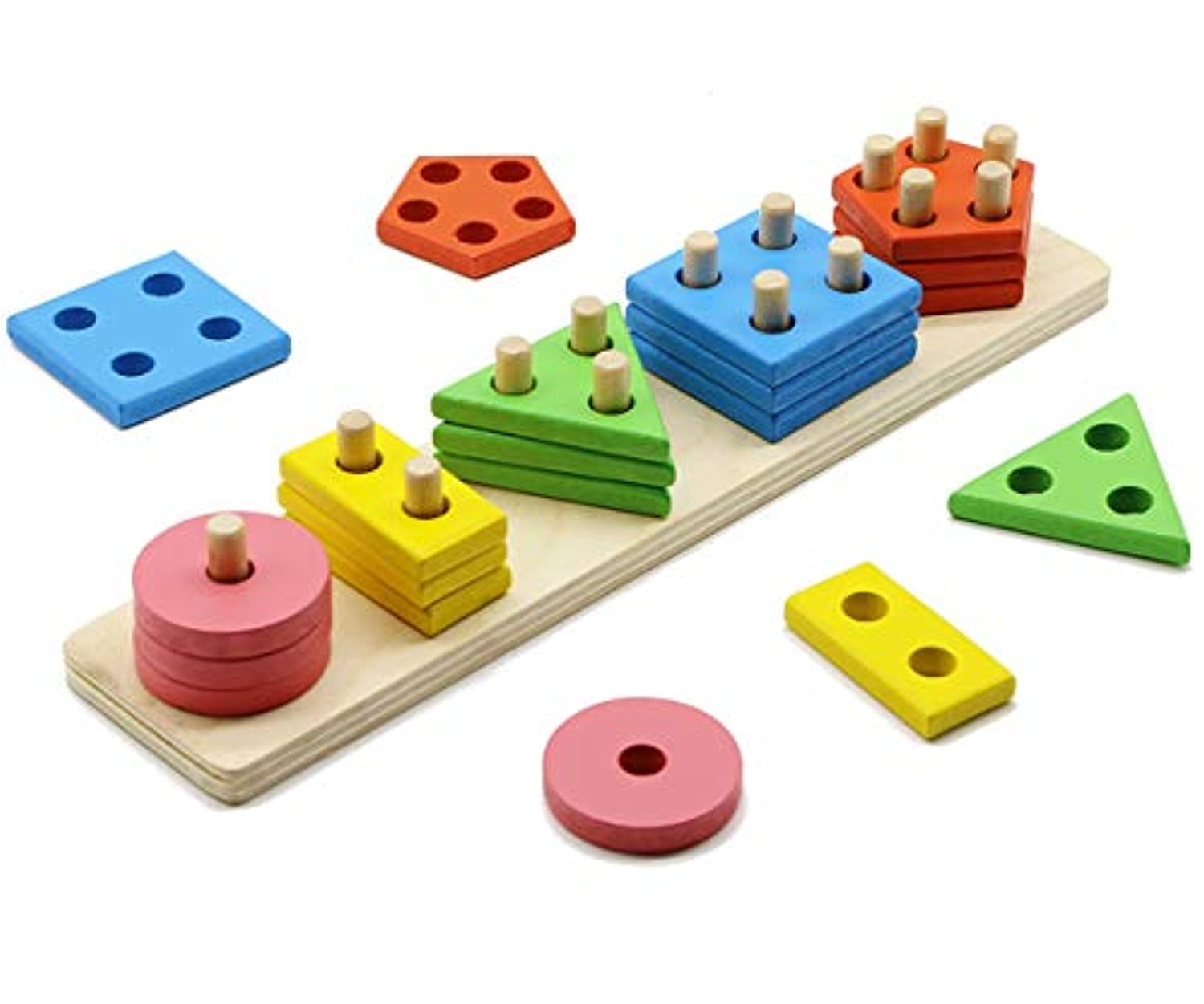 MoTrent Wooden Colour & Shape Sorter, Colourful Geometric Board Sorting & Stack Puzzle Toys for Kids