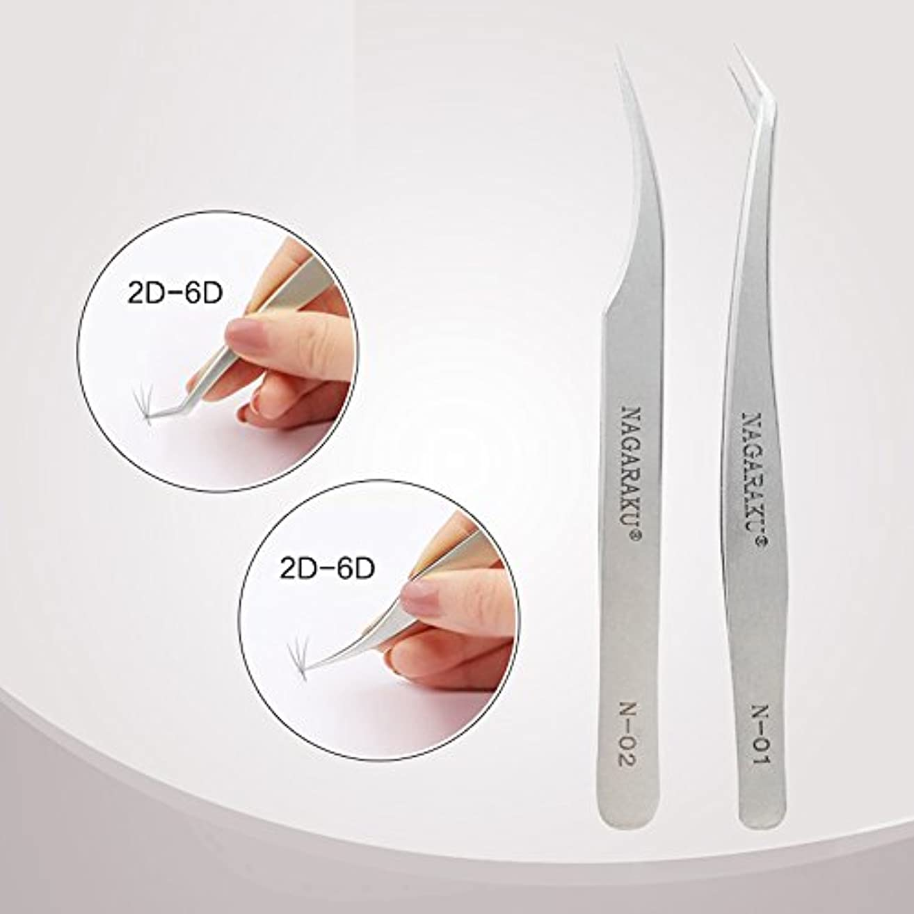 発揮する路面電車責任者NAGARAKU 2pcs tweezers pincet for professional eyelash extension volume flower bloom eyelash tweezers stainless...