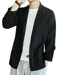 Keaac メンズ中国シングルは、リネンカンフーソリッドタンスーツシャツジャケット