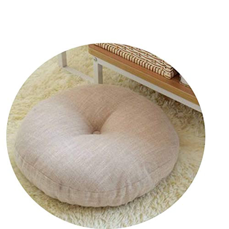 リネン布団クッションは、ラウンドファブリック床瞑想和風バルコニー窓の畳のクッション,取り外し可能で洗えるベージュ,直径40cm、厚さ15cm
