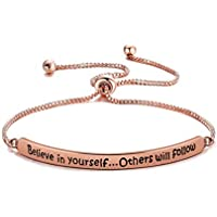 ENSIANTH Encouragement Gift Believe in Yourself Others Will Follow Bracelet Adjustable Inspirational Jewelry Gift for Girl