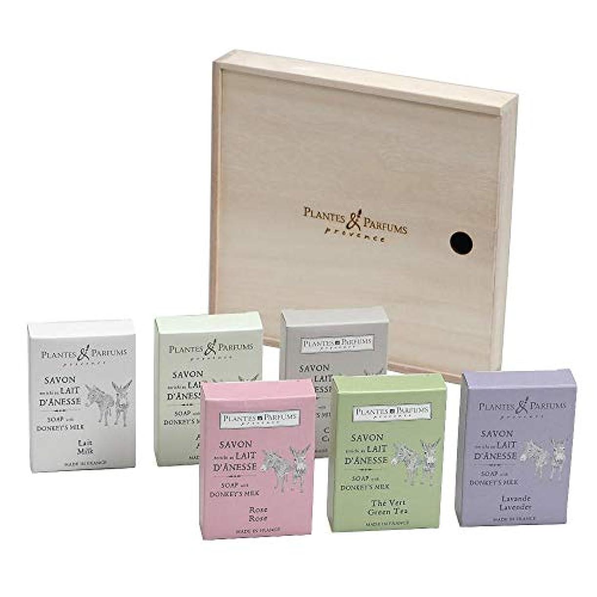 コンピューターを使用する愛情ゴールPlantes&Parfums [プランツ&パルファム] ロバミルクソープセット[木箱] 6pcs.