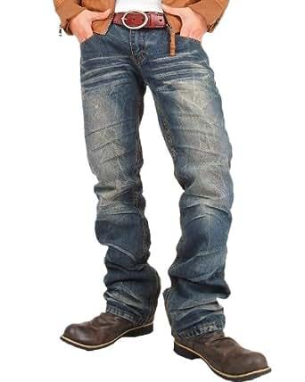 (トップイズム)TopIsm ジーンズ メンズ デニムパンツ ダメージ USED加工 ストレート デニム アメカジ denim-4-L-700-2-Nv