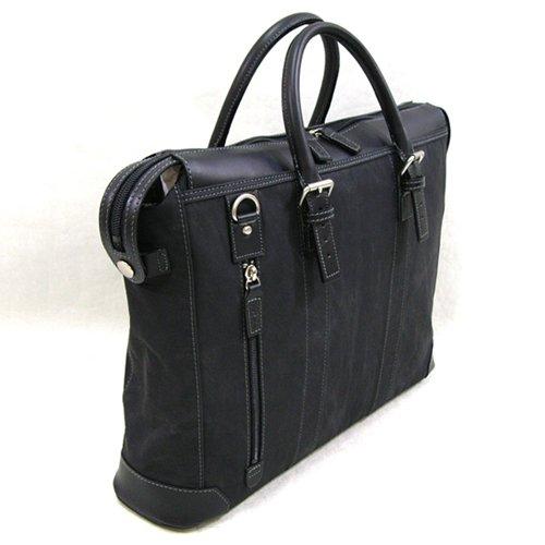 織人[オリジン]多機能ビジネスバッグ 縦ファスナー二本手ビジネスバッグ 本革付属 PC対応 メンズ ブラック