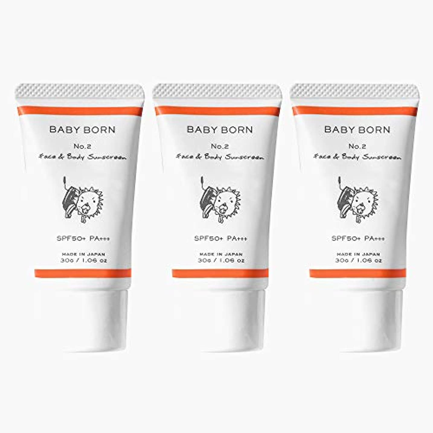 カリキュラム忍耐メンテナンス日焼け止め 赤ちゃんや子どもにも使えるBABY BORN(ベビーボーン) Face&Body Sunscreen 3個セット 日焼け止め UV ケア 東原亜希 高橋ミカ 共同開発 SPF50+/PA++++