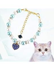 CXQ ペットファッションジュエリー猫小犬真珠の首輪猫の首輪用品 (Color : Blue)