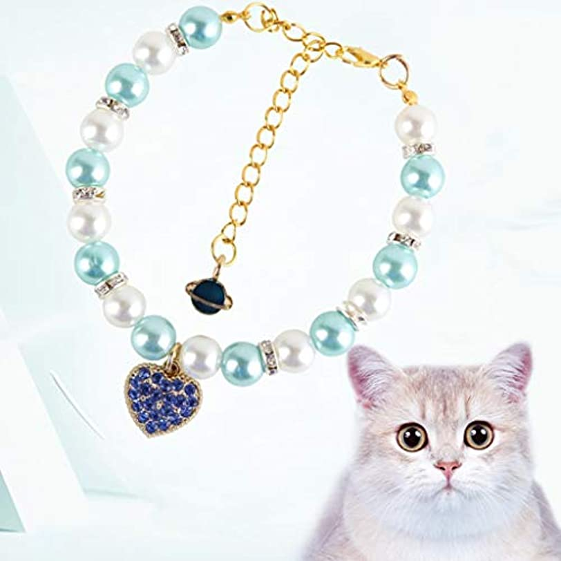後方一部航空便CXQ ペットファッションジュエリー猫小犬真珠の首輪猫の首輪用品 (Color : Blue)