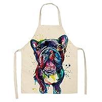綿とリネンの創造的な家のオーバーオールアニメ色犬エプロン (WQ0033-5,47x38CM)