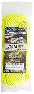 TOUGH-GRID 750ポンド(耐荷重340kg) ミルスペックパラコード 50フィート 11芯 (イエロー)