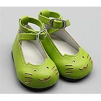 HuaQingPiJu-JP 18インチの人形かわいい猫の靴(グリーン)
