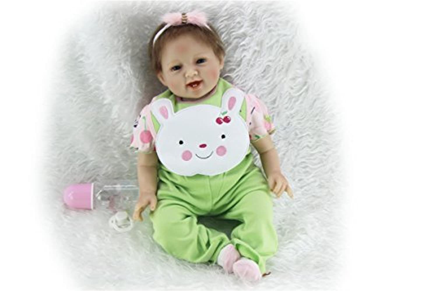 SanyDoll Rebornベビー人形ソフトSilicone 22インチ55 cm磁気Lovely Lifelike Cute Lovely Baby Rabbit Suit