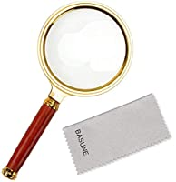 10X Magnifying Glass With Rosewood Handle Magnifier Lens Loupe for Reading - 80mm Dia