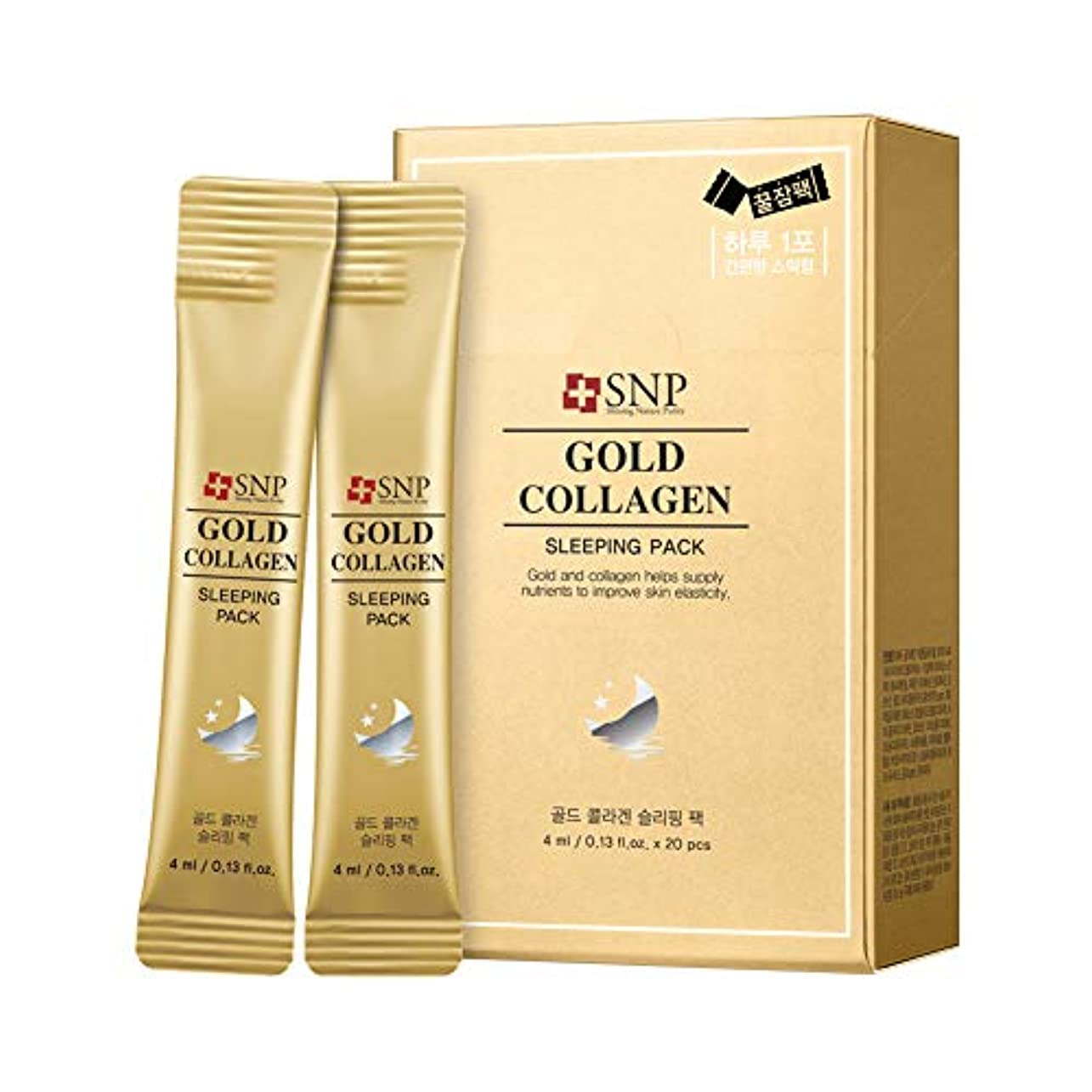心からロール画像SNP Gold Collagen Sleeping Pack 20x4ml/0.13oz並行輸入品