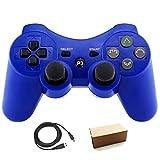 Pueleo PS3用 ワイヤレス デュアルショック3 ワイヤレスコントローラー互換 日本語説明書 USB ケーブル付属(ブルー)