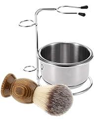 D DOLITY 3点セット 髭剃り シェービングキット ブラシ+ボウル+ブラシホルダー サロン 美容室