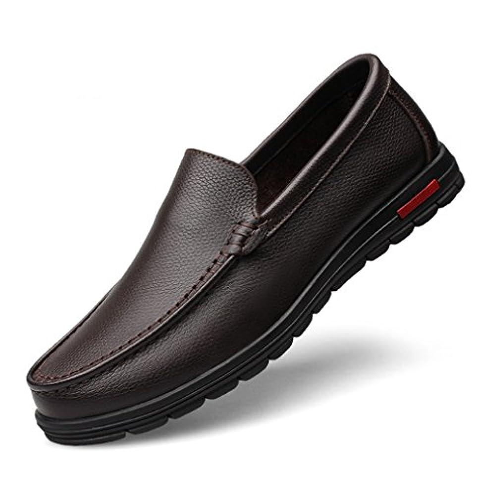 レトルト縞模様の外向きOM 大きなサイズ メンズ ローファー カジュアル ビジネスシューズ スリッポン レザー 革靴 ローカット 型押し エンボス ドレスシューズ 紳士靴 短靴 イングランド風 通勤 滑り止め 通気性 ブラック ブラウン