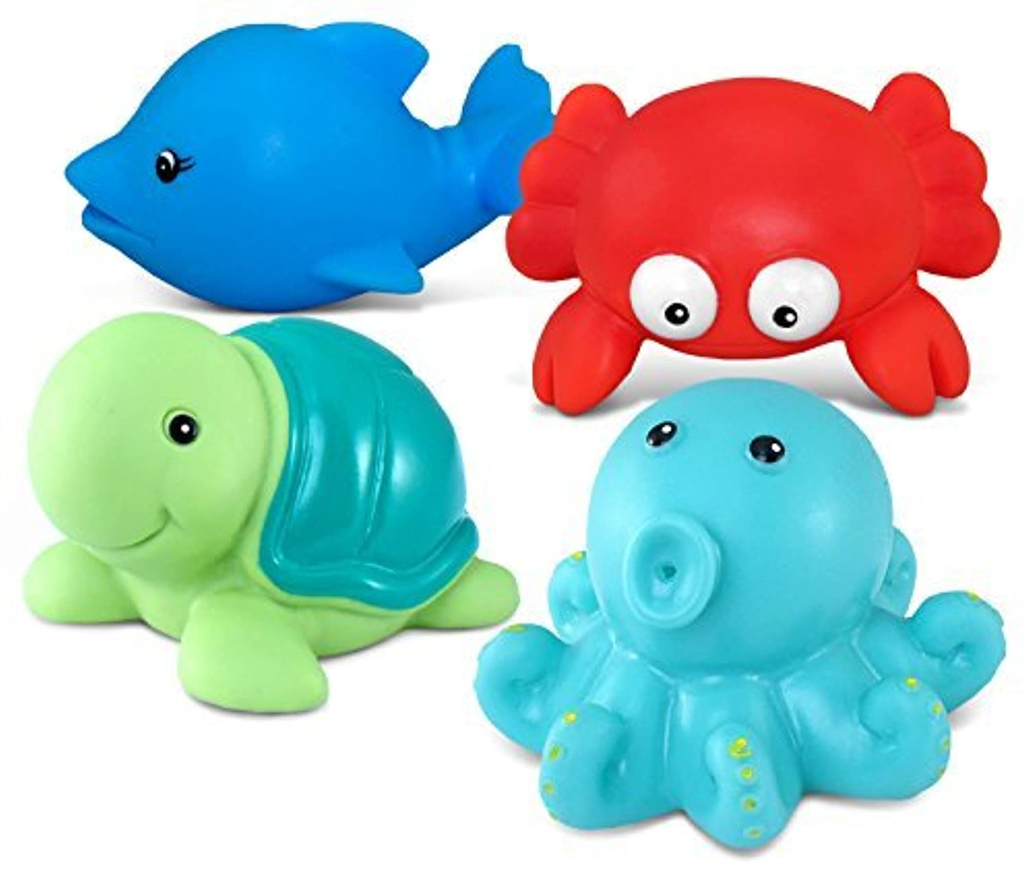 Puzzled Bath Buddies Collection - red crab, cartoon dolphin, sea turtle and octopus, Set of 4 by Puzzled [並行輸入品]
