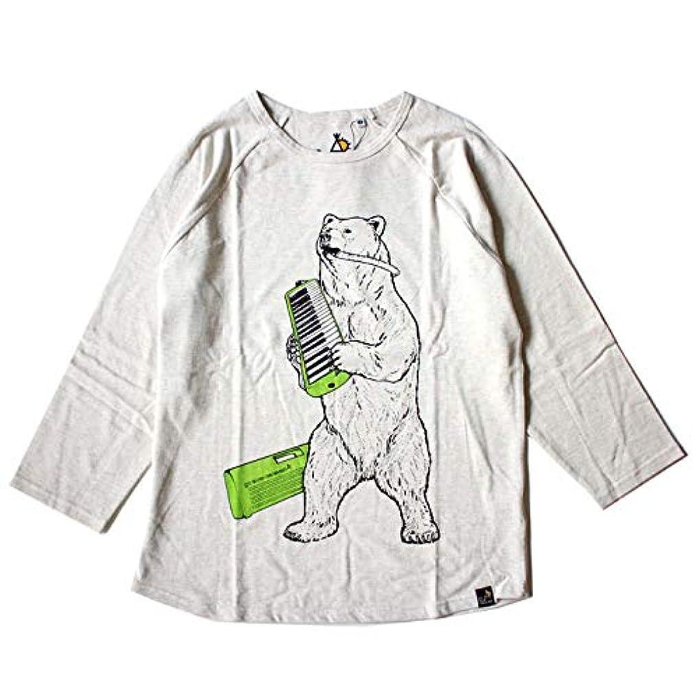 囲い直立抑制するピアニカ クマちゃん go slow caravan ゴースローキャラバン 鹿の子8分袖Tシャツ No.391904 オートミール