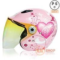 バイクヘルメット T523 ヘルメット ジェット レディース メンズ! 女性用、男性用 ハート ドイツ技術導入 輸入試供品 PSC付き【商品10・ハート・ピンク/Mサイズ】