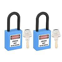 uxcell uxcellロックアウトタグアウトロック 38 mmシャックルキー同様安全パドロックプラスチックロックブルー2個入り