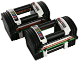 【Hilax】 ブロック型 ダンベル 簡単脱着 可変式 50ポンド (約23kg)×2 筋トレ トレーニング ペア 左右セット
