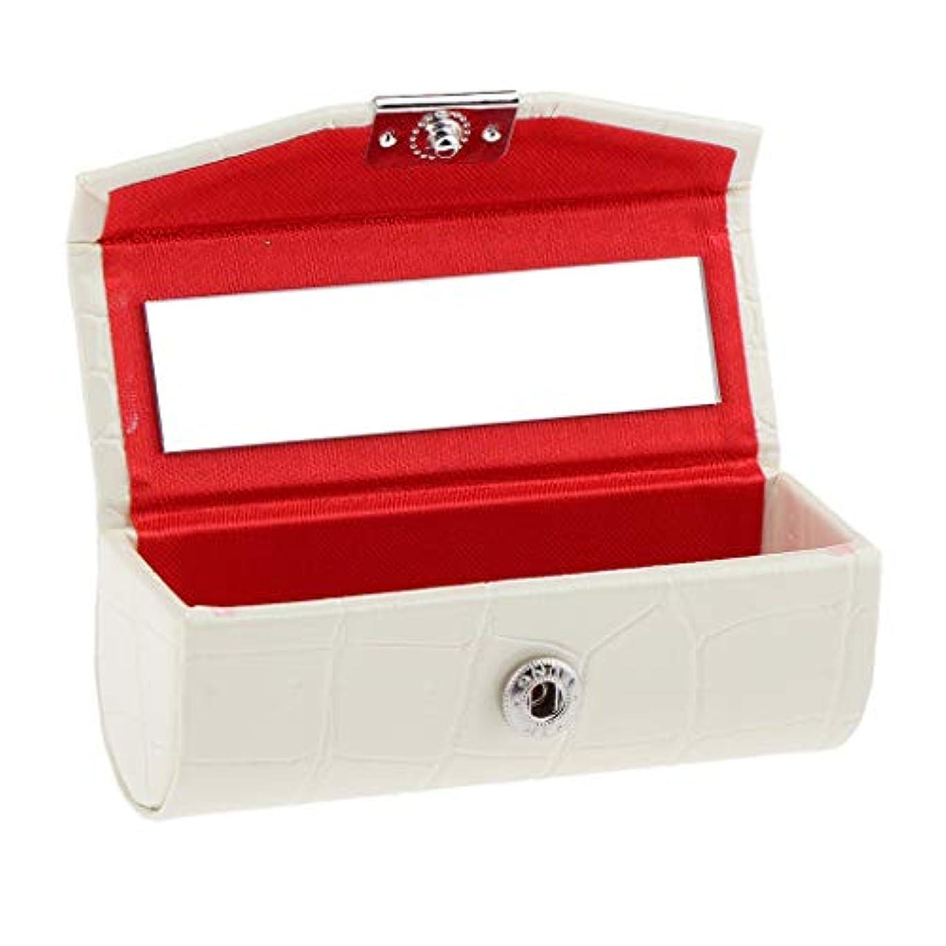 ラッチ酸度者IPOTCH レザー リップスティックケース 口紅ホルダー ミラー 収納ボックス 多色選べ - 白