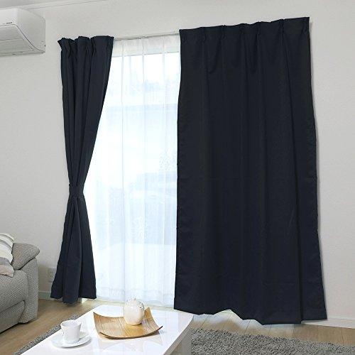 【全70種】カーテン 1級遮光 ドレープカーテン 断熱 保温 洗える 幅100cm×丈200cm 2枚組 ブラック
