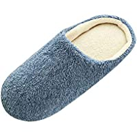 Qootent Men Warm Home Slippers Indoor Winter Floor Bedroom Plush Soft Slippers