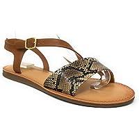 SODA Peer Womens Open Toe Ankle Buckle Strappy Flat Sandals
