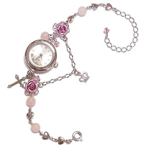 ローズクォーツ (腕時計) 天然石 パワーストーン ブレスレット ウオッチ 可愛い キラキラ アクセサリー レディース 女性用 薔薇 バラ ローズ ばら ピンク