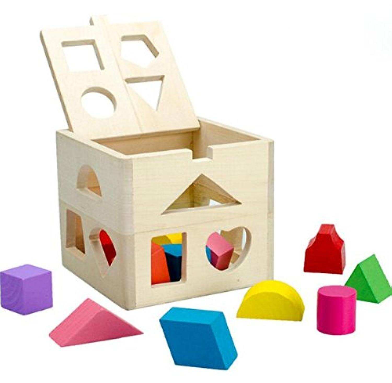 HuaQingPiJu-JP 子供のための色の木製の形状のソーター幾何学的な並べ替えボックス教育形状の色認識玩具