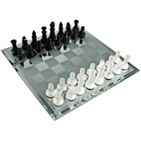 Black and Frosted Glass Chess Set with Mirror Board