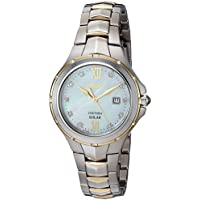 Seiko Women's Courtura Solar Two-Tone Watch With Diamond Accents On Dial