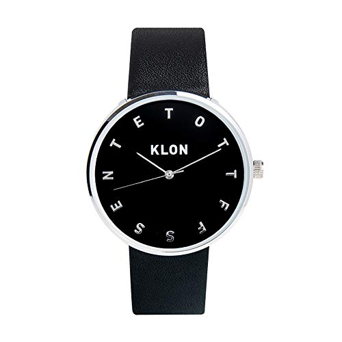 KLON ALPHABET TIME BLACK 【BLACK SURFACE】 Ver.SILVER 40mm 腕時計ト 黒ベルト ペアウォッチ カップル シンプル ユニセックス シルバー 黒 おしゃれ レディース メンズ (ブラック)