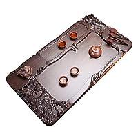 ティートレイ ティーテーブル 長方形カンフーティーセット 家庭用ソリッドウッドティーシー、 滑らかな排水 コーヒー・ティー用品 (Color : Brown, Size : 70*38*6cm)