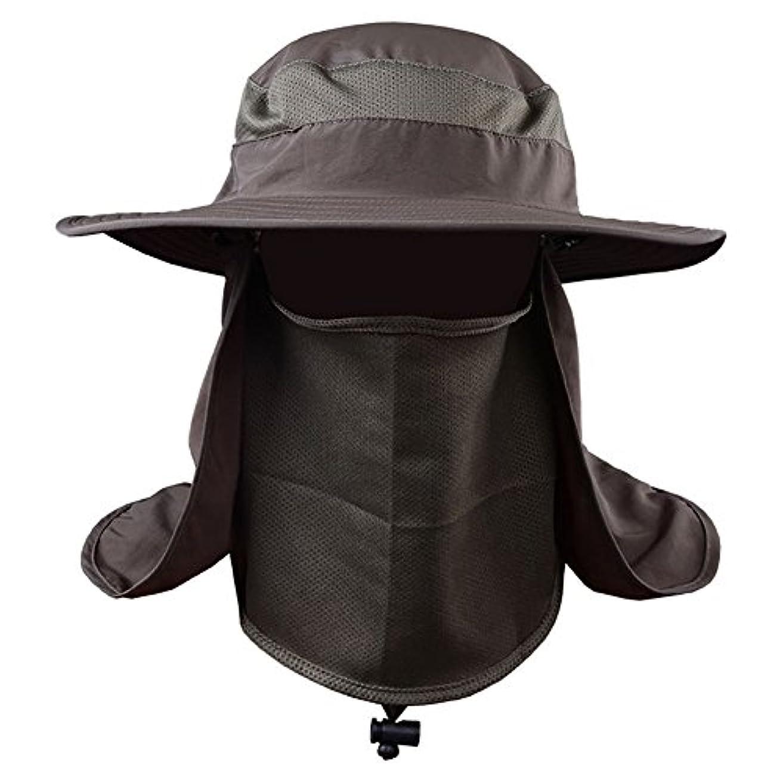 レッスン思い出信号Messagee Army Greenファッション夏アウトドア太陽保護釣りキャップネック面フラップ帽子Wide Brim