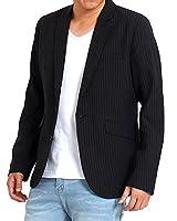 a9d5387c3f72a  トップイズム  テーラードジャケット メンズ ジャケット シングル ストライプ 2B スーツ 生地 ノッチドラペル セットアップ可