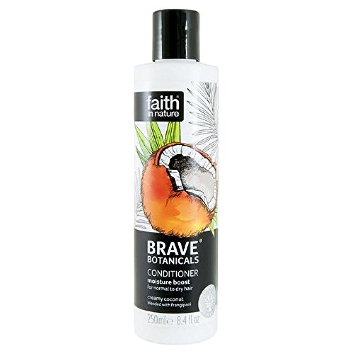 対象摂氏急勾配のBrave Botanicals Coconut & Frangipani Moisture Boost Conditioner 250ml (Pack of 4) - (Faith In Nature) 勇敢な植物ココナッツ...