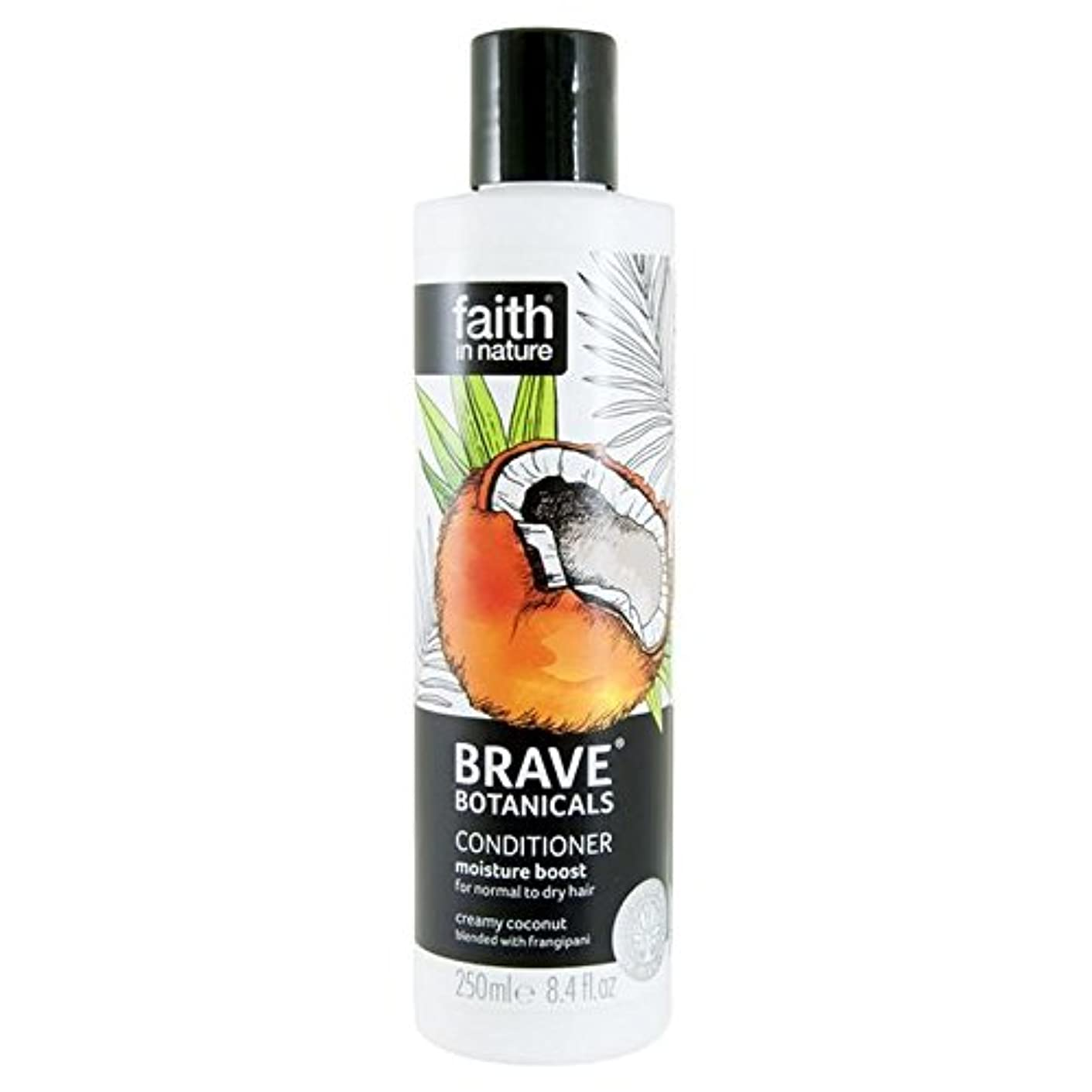 神経障害群衆クリックBrave Botanicals Coconut & Frangipani Moisture Boost Conditioner 250ml (Pack of 4) - (Faith In Nature) 勇敢な植物ココナッツ...