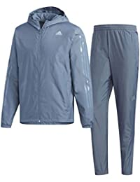 アディダス(adidas) D2M 3ストライプス裏起毛ウィンドジャケット&パンツ 上下セット(ロースティール/ロースティール) FAO56-DH2606-FAO49-DH2617