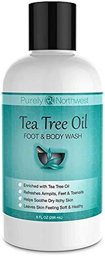 傷つきやすいシンカン独立してAntifungal Tea Tree Oil Body Wash, Helps Athletes Foot, Ringworm, Toenail Fungus, Jock Itch, Acne, Eczema & Body Odor- Soothes Itching & Promotes Healthy Feet, Skin and Nails 9oz